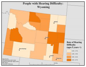 Map of Wyoming showing rates of people with hearing difficulty by county. See Wyoming State Profile page for full text description.