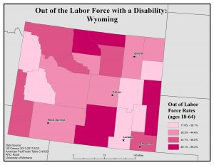 Map of Wyoming showing rates of people with disabilities who are out of the labor force by county. See Wyoming State Profile page for full text description.