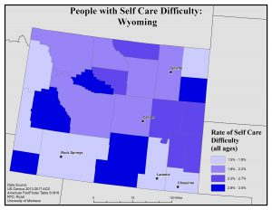 Map of Wyoming showing rates of people with self care difficulty by county. See Wyoming State Profile page for full text description.