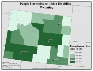 Map of Wyoming showing rates of people with disabilities who are unemployed by county. See Wyoming State Profile page for full text description.