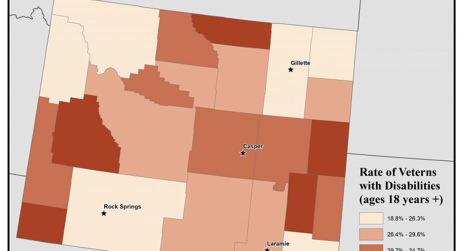 Map of Wyoming showing rates of veterans with disabilities. See Wyoming State Profile page for full text description.