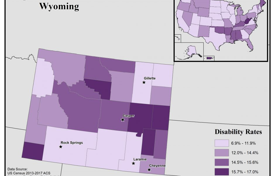 Map of Wyoming showing disability rates by county. See Wyoming State Profile page for full text description.