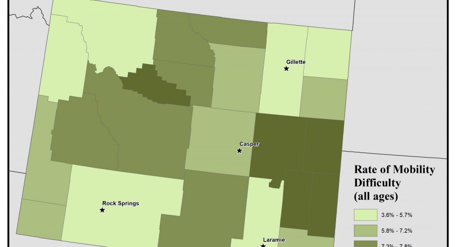 Map of Wyoming showing rates of people with mobility difficulty. See Wyoming State Profile page for full text description.