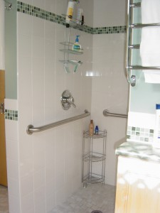 This image shows an accessible shower, with grab bars and a no step shower.