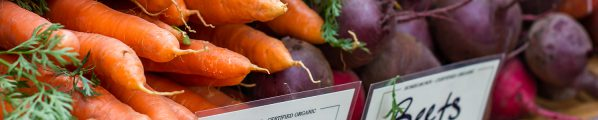 Footer image: carrots and beets at a farmers market stand.