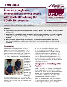 cover of fact sheet: unemployment among people with disabilities during COVID-19 recession. Link to full fact sheet in post.