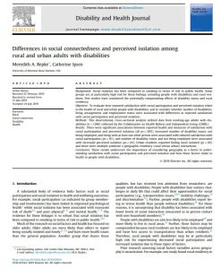 "Screenshot of the first page of journal article titled ""Differences in social connectedness and perceived isolation among rural and urban adults with disabilities"""