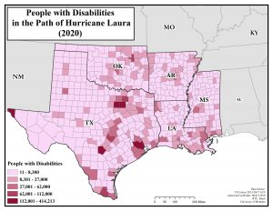 Map showing number of people with disabilities in the path of Hurricane Laura. Text description on page.