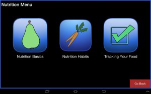 "Screenshot of nutrition menu section of ""Health My Way"" app, which is currently under development"