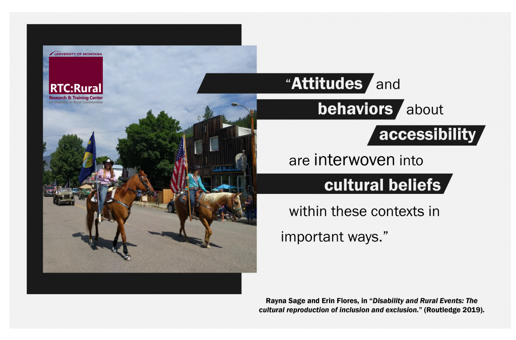 "Quote from 'Disability and Rural Events': ""Attitudes and behaviors about accessibility are interwoven into cultural beliefs within these contexts in important ways."""