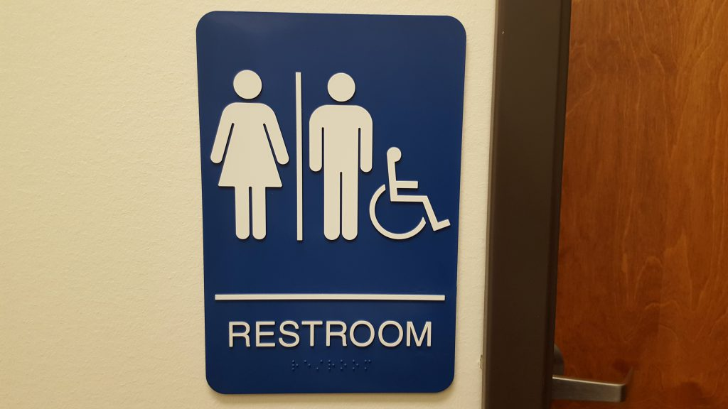 Restroom sign for accessible bathroom.