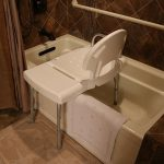 A shower chair in a bathtub. There is a grab bar on the wall above the tub.