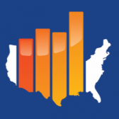 Outline of the continental US, with graph bars in the middle (from the StatsRRTC logo)