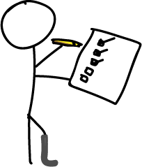 cartoon drawing of person with prosthetic leg stands holding a pencil and checklist