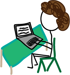 cartoon drawing of stick figure with curly brown hair sits at desk with laptop