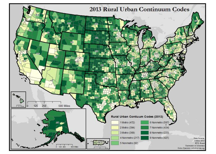 This map of the United States shows counties classified by the nine USDA Rural-Urban Continuum Codes.