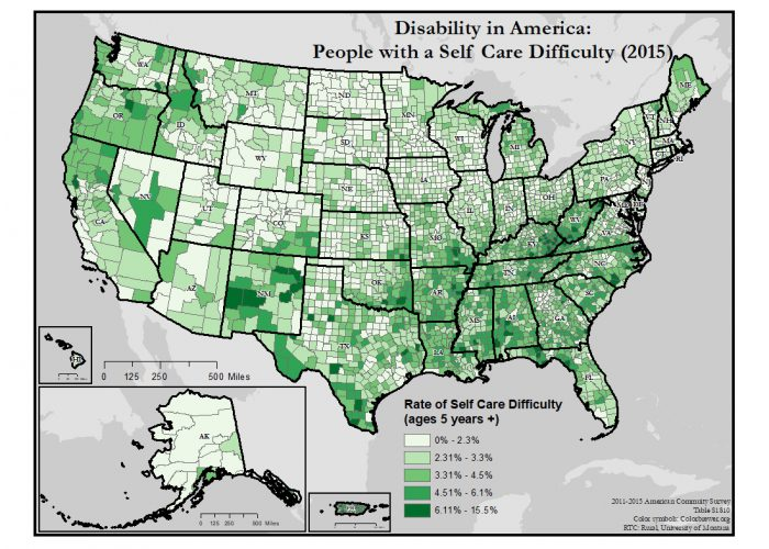 This is a map of the United States which depicts rates of self-care difficulty by county.
