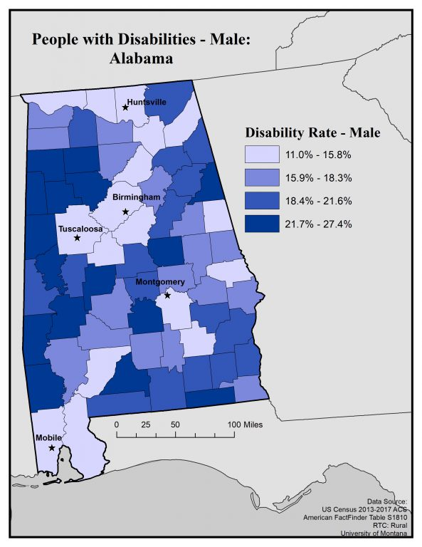 Map of Alabama showing disability rates among males by county. See text on page for full text description.