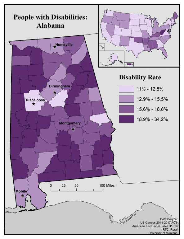 Map of people with disabilities: Alabama. See page for full text description.