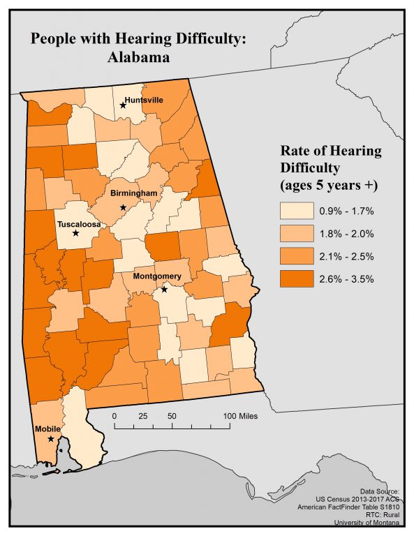 Map of Alabama showing rates of hearing difficulty by county for ages 5+. See text on page for full text description.