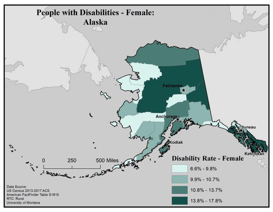 Map of Alaska showing rates of females with disabilities by borough. See page for full text description.
