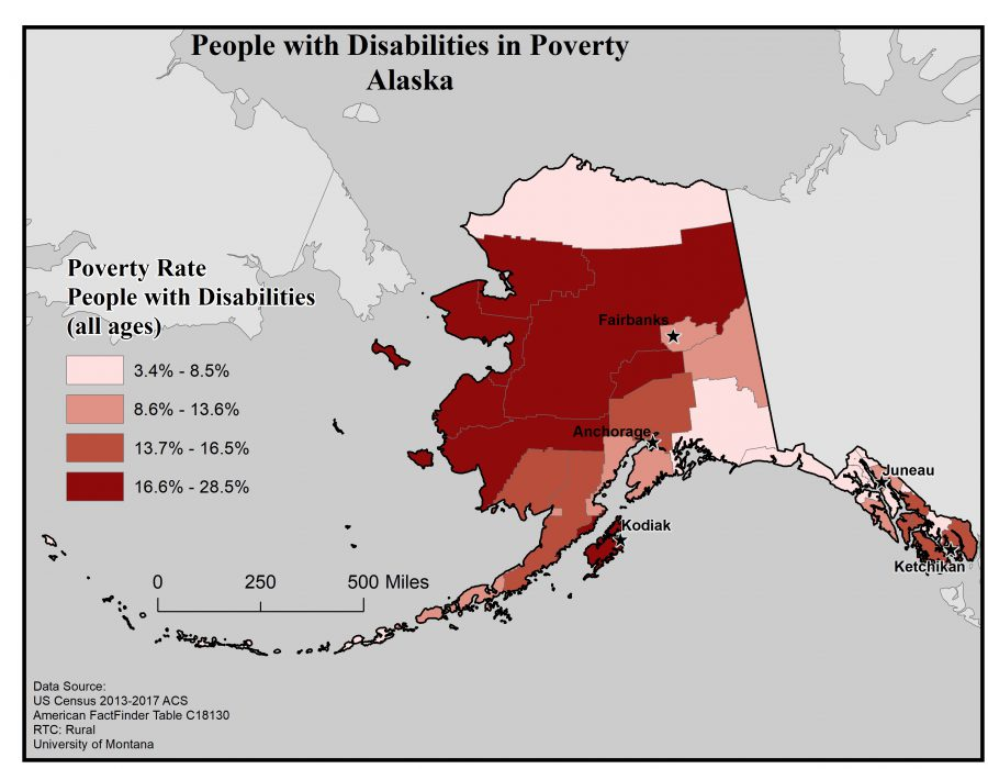 Map of Alaska showing rates of people with disabilities in poverty. See Alaska State Profile page for full text description.
