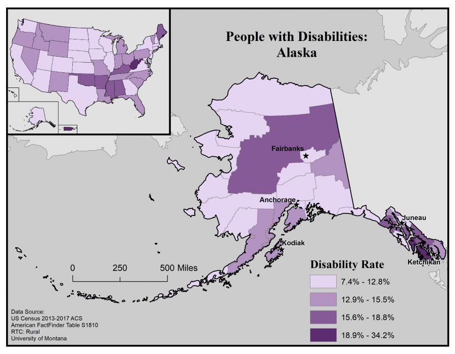 Map of Alaska showing disability rates by borough. See page for full text description.
