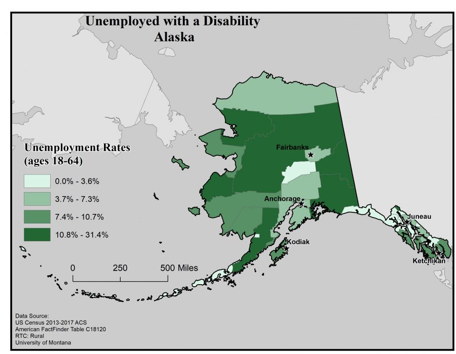Map of Alaska showing rates of people with disabilities who are unemployed by borough. See Alaska State Profile page for full text description.