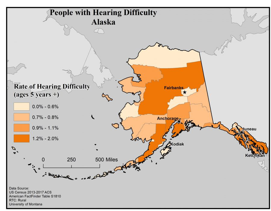 Map of Alaska showing rates of people with hearing difficulty by borough. See Alaska State Profile page for full text description.