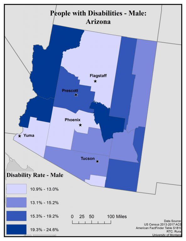 Map of Arizona showing disability rates among males by county. See page for full text description.