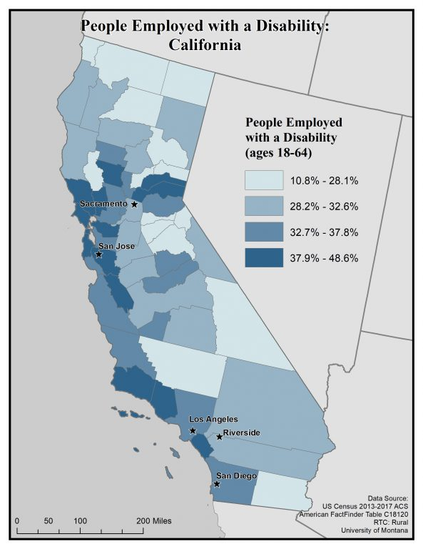 Map of California showing people employed with a disability by county. See California State Profile page for full text description.