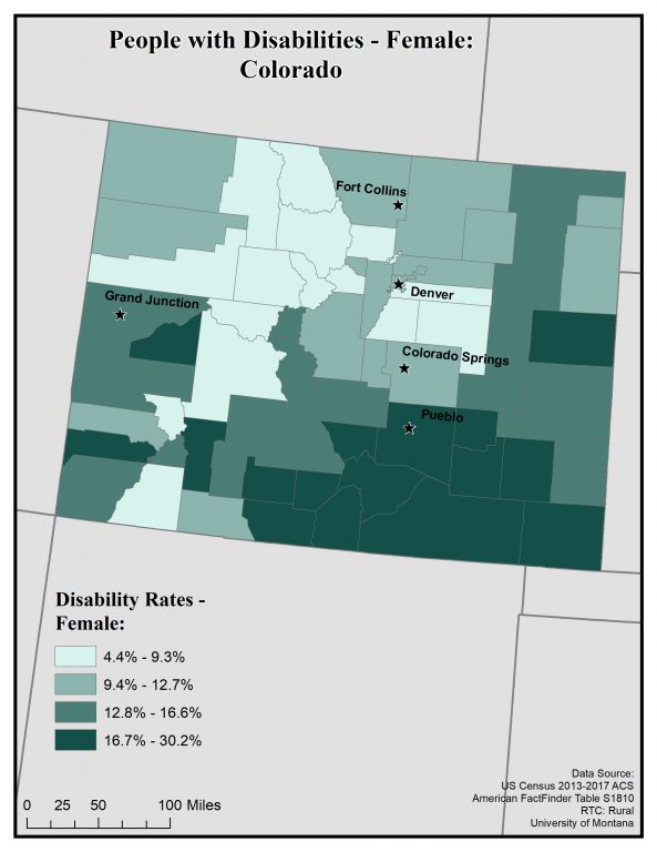 Map of Colorado showing rates of females with disabilities by county. See Colorado State Profile page for full text description.