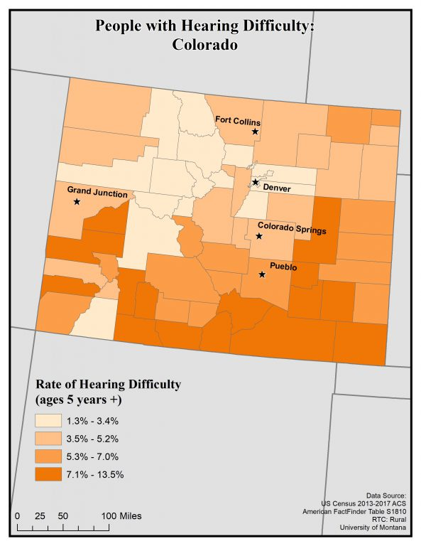 Map of Colorado showing rates of hearing difficulty by county. See Colorado State Profile page for full text description.