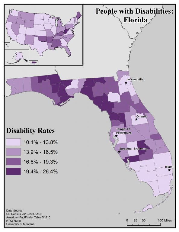 Map of Florida showing disability rates by county. See page for full text description.