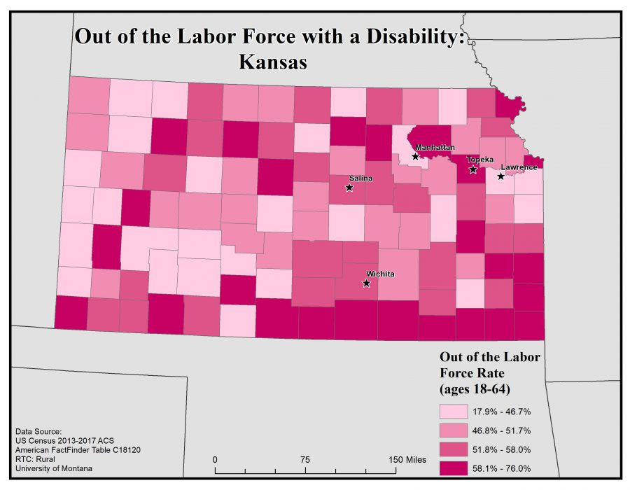 Map of Kansas showing rates of people with disabilities who are out of the labor force by county. See Kansas State Profile page for full text description.
