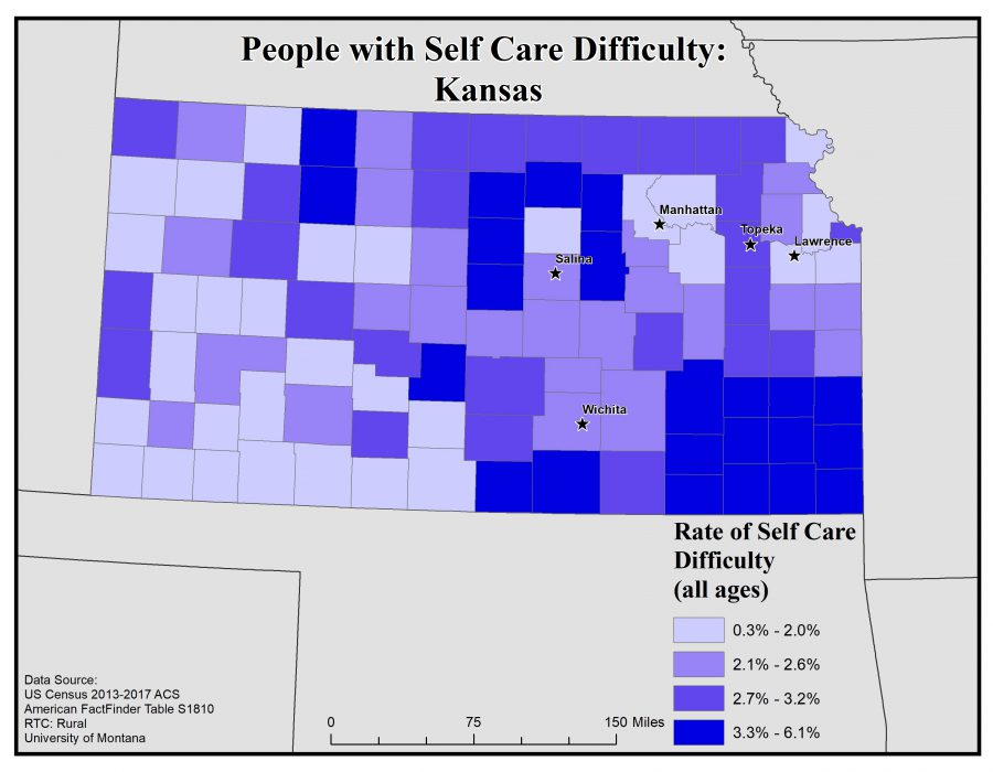 Map of Kansas showing rates of people with self care difficulty by county. See Kansas State Profile page for full text description.