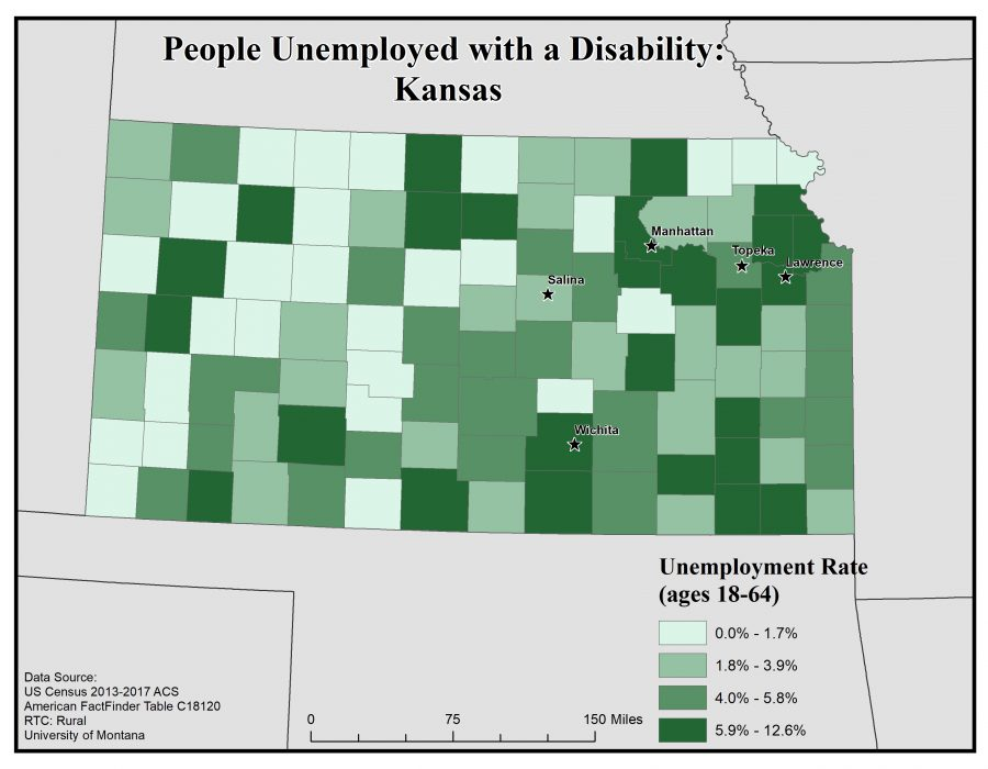 Map of Kansas showing rates of people with disability who are unemployed by county. See Kansas State Profile page for full text description.