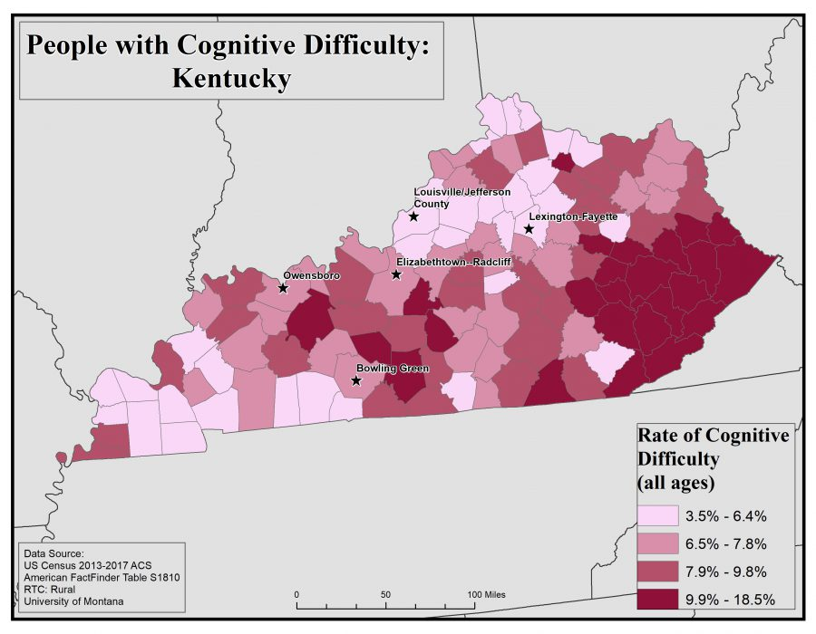 Map of Kentucky showing rates of people with cognitive difficulty by county. See Kentucky State Profile page for full text description.
