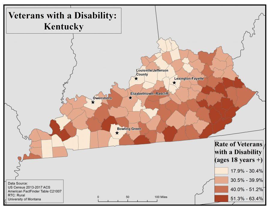 Map of Kentucky showing rates of veterans with disabilities by county. See Kentucky State Profile page for full text description.