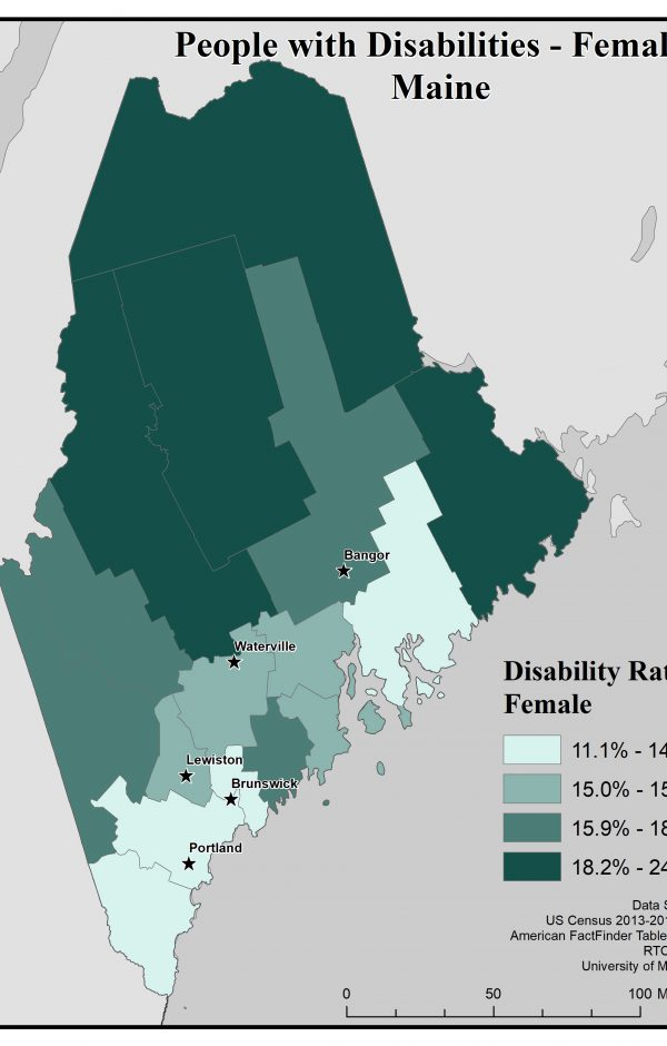 Map of Maine showing rates of females with disabilities. See Maine State Profile page for full text description.