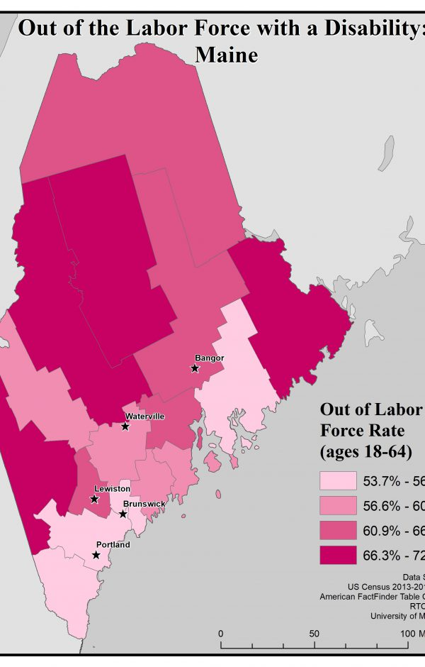 Map of Maine showing rates of people with disability who are out of the labor force by county. See Maine State Profile page for full text description.
