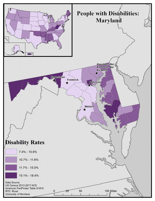 Map of Maryland showing disability rates by county. See page for full text description.