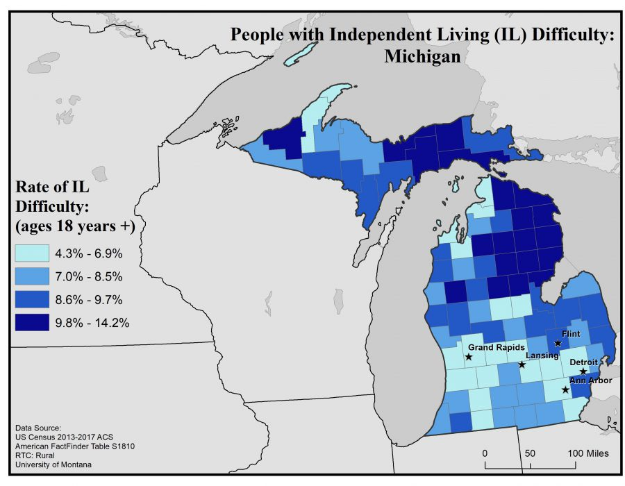 Map of Michigan showing rates of people with IL difficulty by county. Text description on webpage.