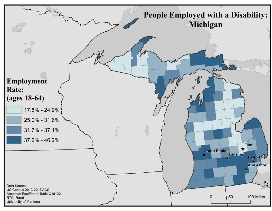 Map of Michigan showing rates of people with disabilities who are employed. Text description in post.