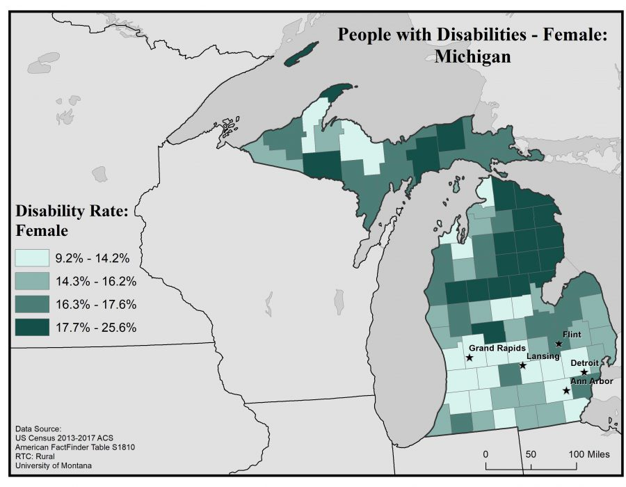 Map of Michigan showing rates of females with disabilities by county. Full text description in post.