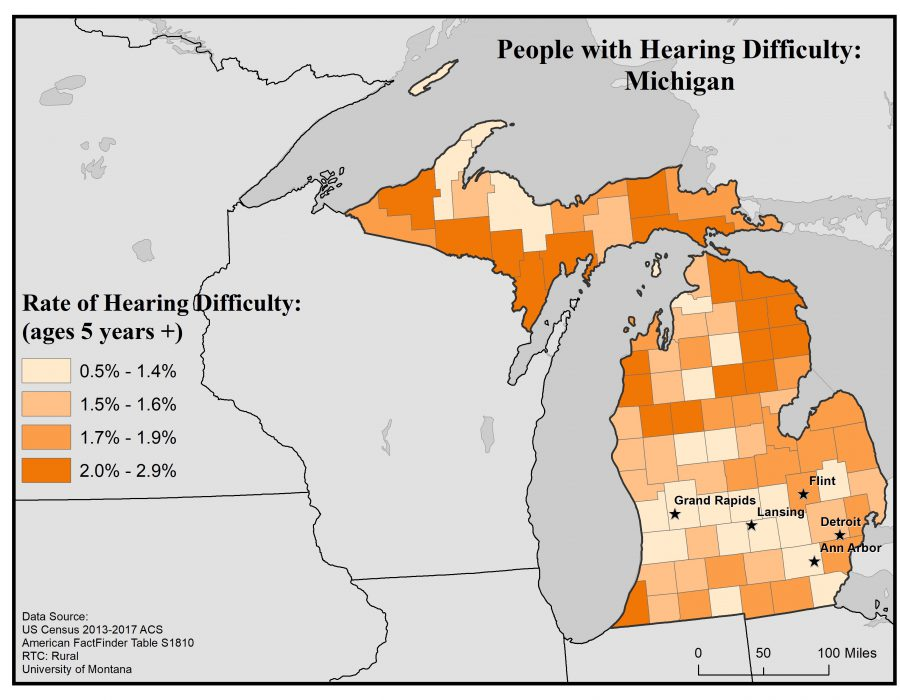 Map of Michigan showing rates of people with hearing difficulty (ages 5+) by county. For full text description see Michigan State Profile page.