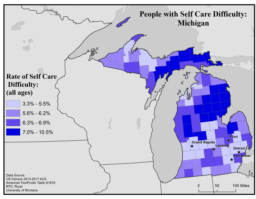 Map of Michigan showing rates of people with self care difficulty by county. See Michigan State Profile page for full text description.