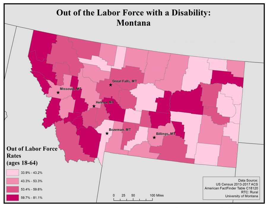 Map of Montana showing rates of people with disabilities out of the labor force. See page for full text description.