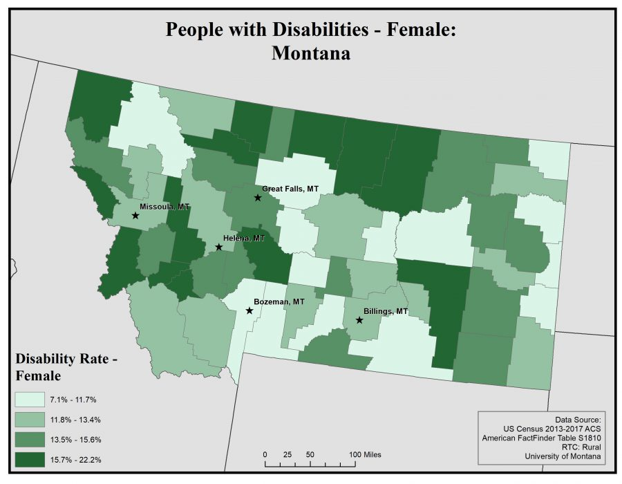 Map of Montana showing rates of disability among females by county. See Montana State Profile page for full text description.