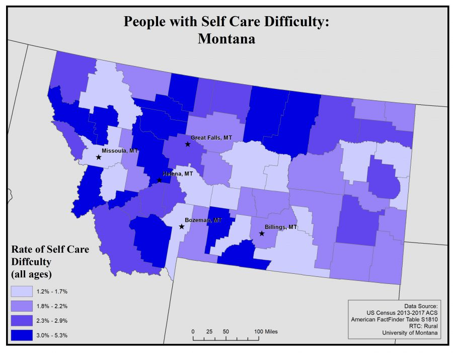 Map of Montana showing rates of people with self care difficulty by county. See Montana State Profile page for full text description.